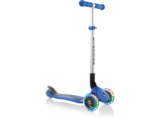 Globber Primo Foldable Lights Scooter with battery-free LED wheels Kids navy blue